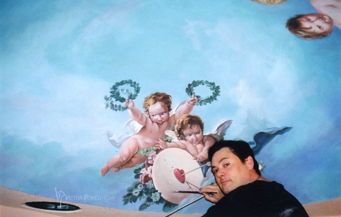 me with Cherubs Ceiling Mural